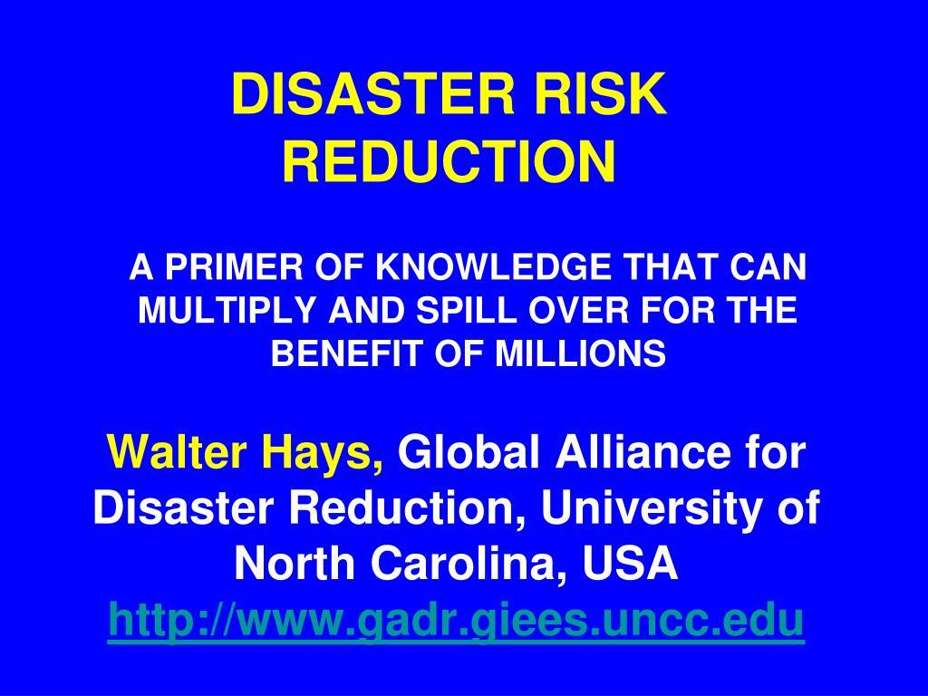 disaster risk reduction l.