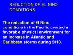 reduction of el nino conditions