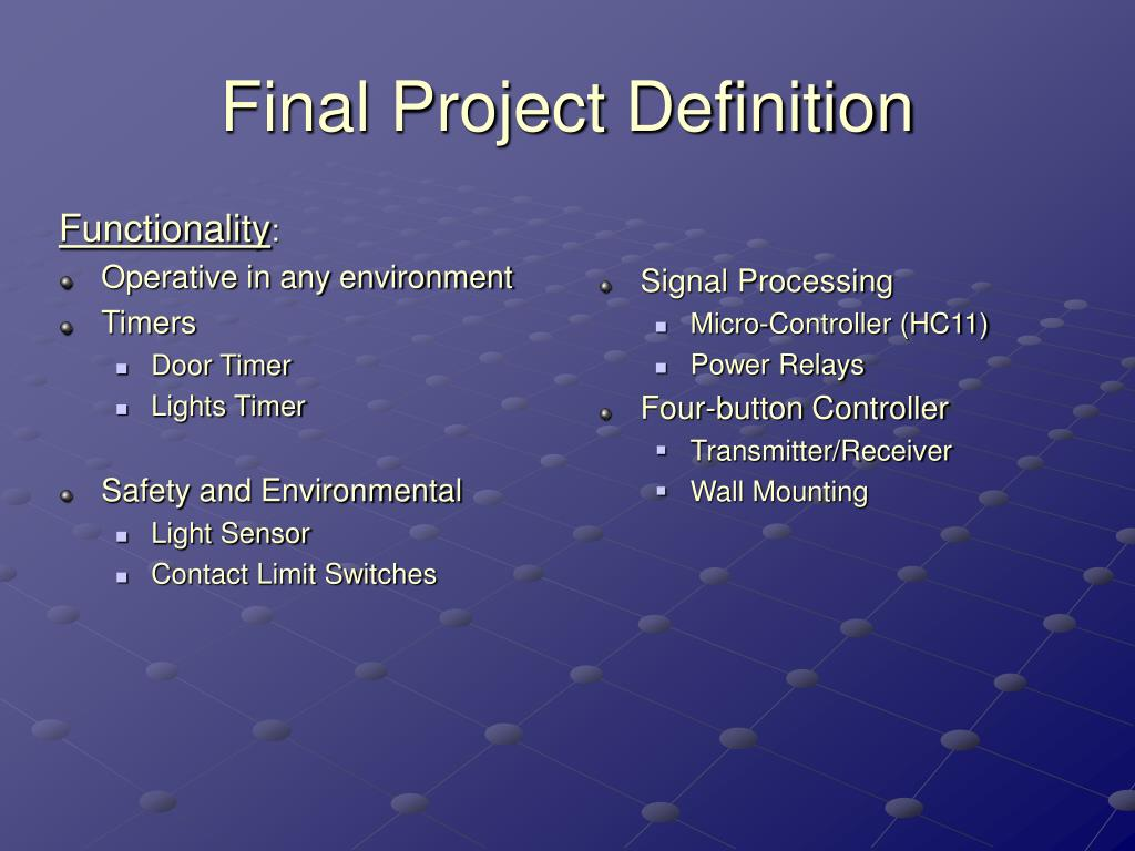 Final Project Definition