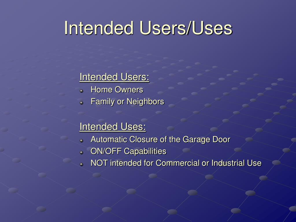 Intended Users/Uses