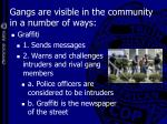 gangs are visible in the community in a number of ways
