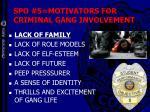 spo 5 motivators for criminal gang involvement