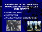 suppression is the calculated and deliberate effort to curb gang activity