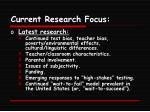 current research focus