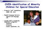 over identification of minority children for special education