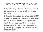 inspections what to look for