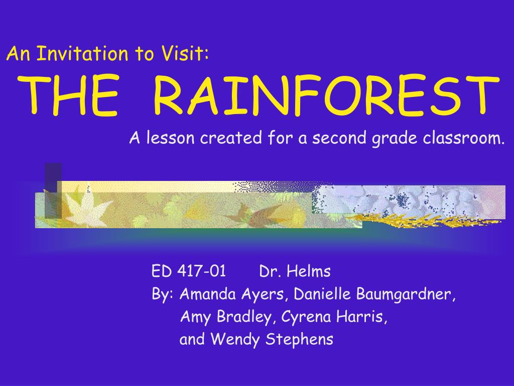 an invitation to visit the rainforest a lesson created for a second grade classroom l.