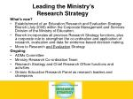 leading the ministry s research strategy