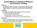 ontario ministry of education research and evaluation strategy