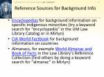 reference sources for background info