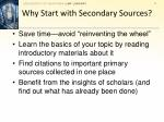 why start with secondary sources