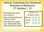 activity examining our emotional reactions to behaviors i t handout 1 15