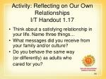 activity reflecting on our own relationships i t handout 1 17