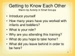getting to know each other warm up activity in small groups