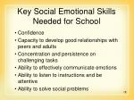 key social emotional skills needed for school