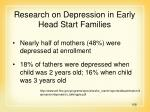 research on depression in early head start families