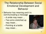 the relationship between social emotional development and behavior