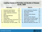 leading causes of mortality and burden of disease world 2004