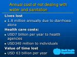 annual cost of not dealing with water and sanitation