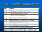 daly example disability weights