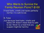 who wants to survive the family reunion picnic 1003