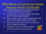 who wants to survive the family reunion picnic 125 000