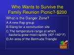 who wants to survive the family reunion picnic 200