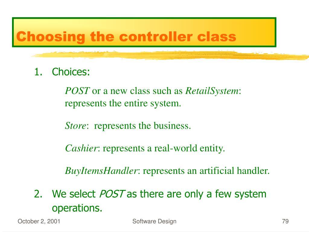 Choosing the controller class