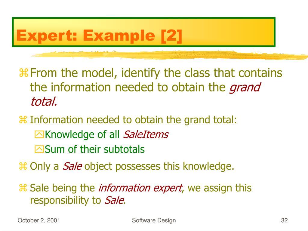 Expert: Example [2]