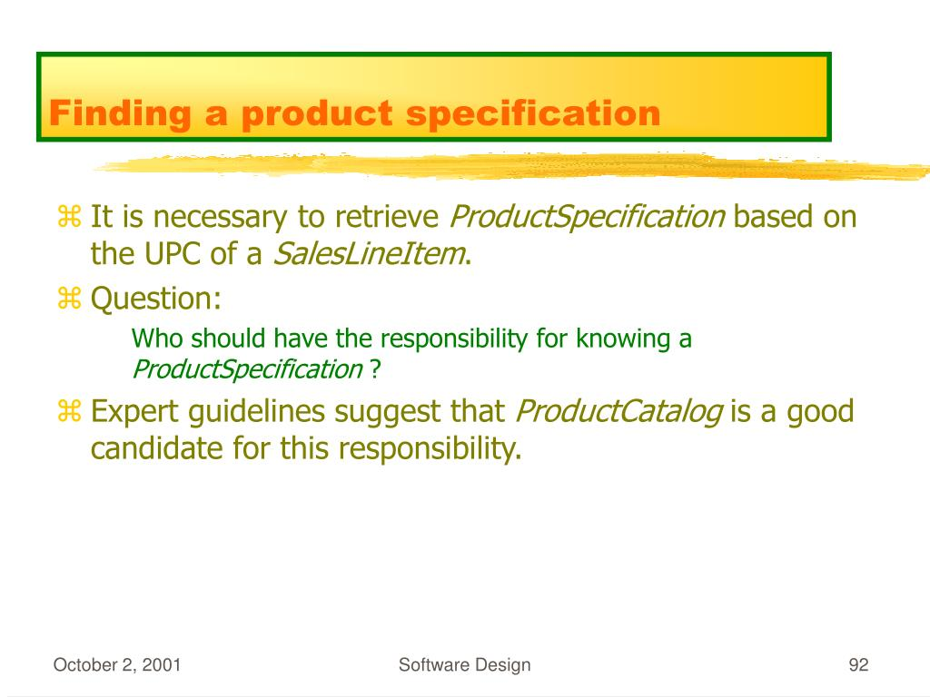 Finding a product specification