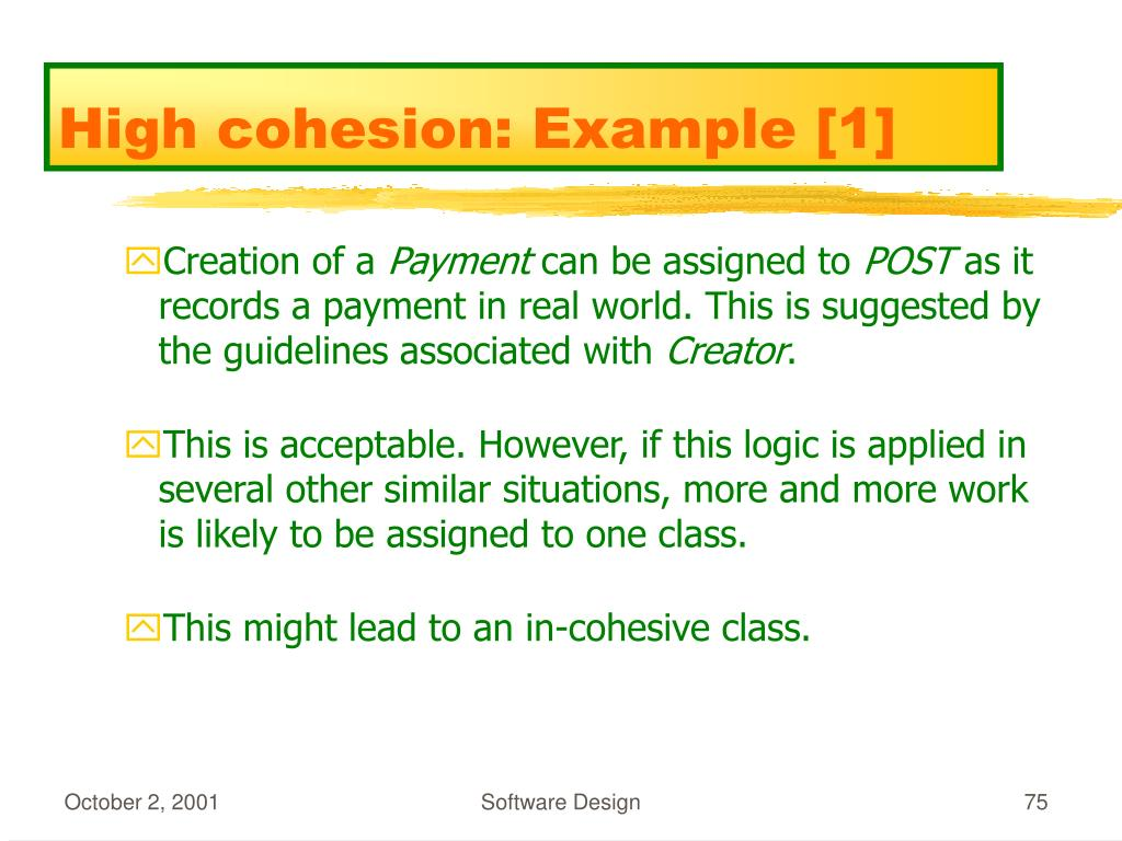 High cohesion: Example [1]