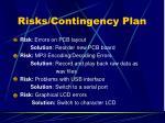 risks contingency plan