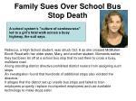 family sues over school bus stop death