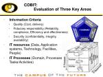 cobit evaluation of three key areas