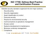 iso 17799 defines best practice and certification process