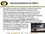 recommendations for cbo s
