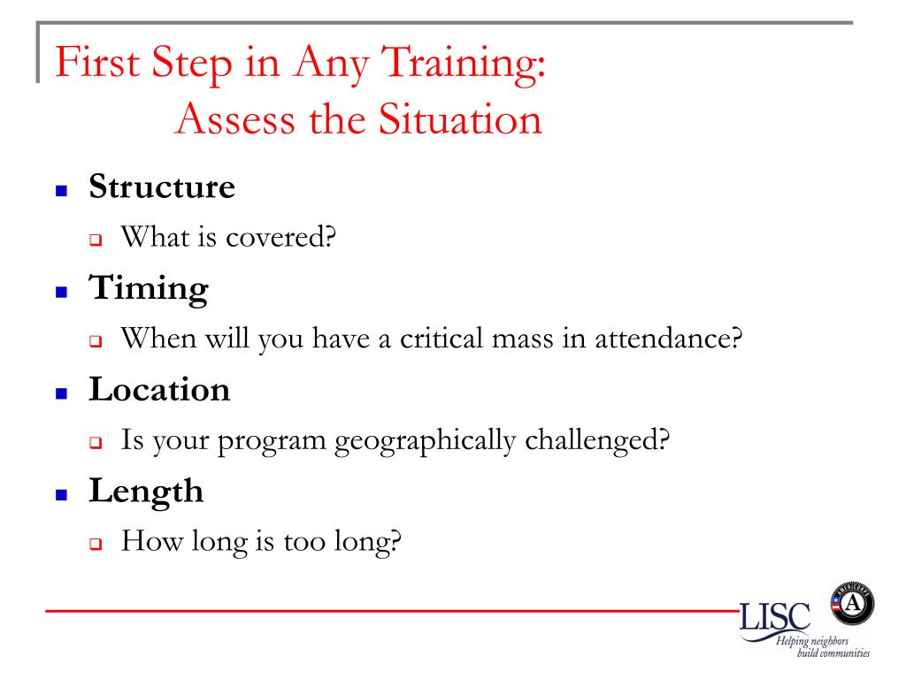 First Step in Any Training:
