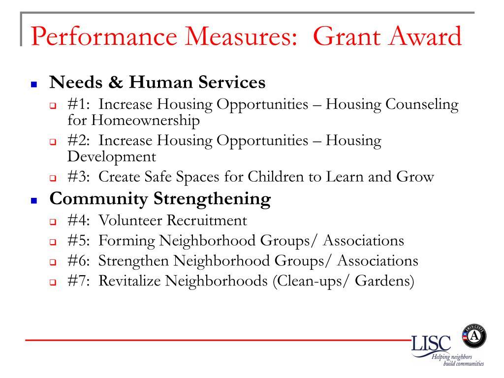 Performance Measures:  Grant Award