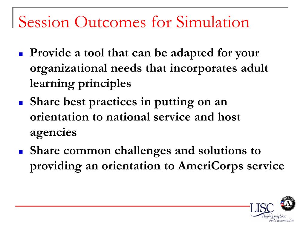Session Outcomes for Simulation