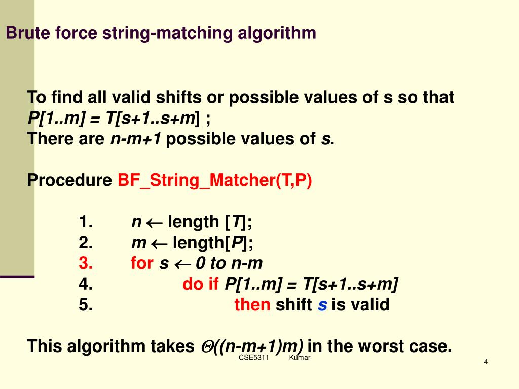 Brute force string-matching algorithm