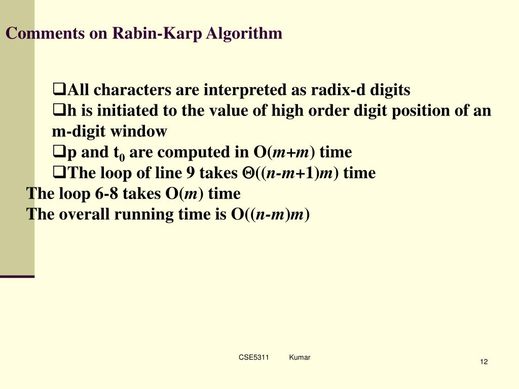 Comments on Rabin-Karp Algorithm