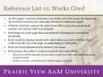 reference list vs works cited