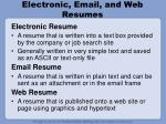 electronic email and web resumes