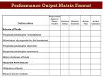 performance output matrix format