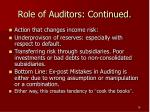 role of auditors continued