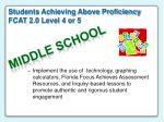 students achieving above proficiency fcat 2 0 level 4 or 576
