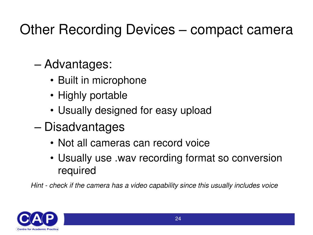 Other Recording Devices – compact camera