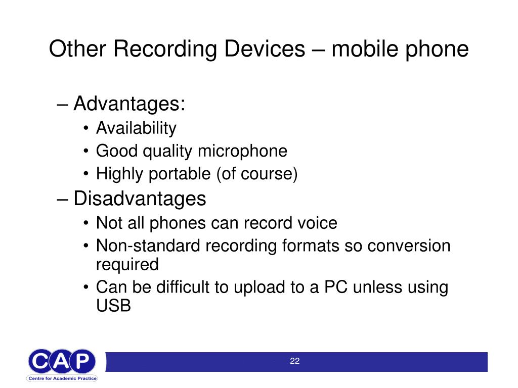 Other Recording Devices – mobile phone