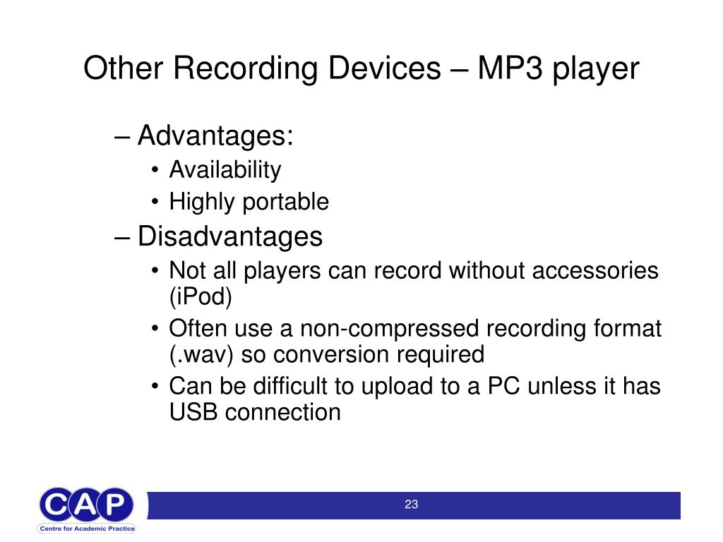 Other Recording Devices – MP3 player