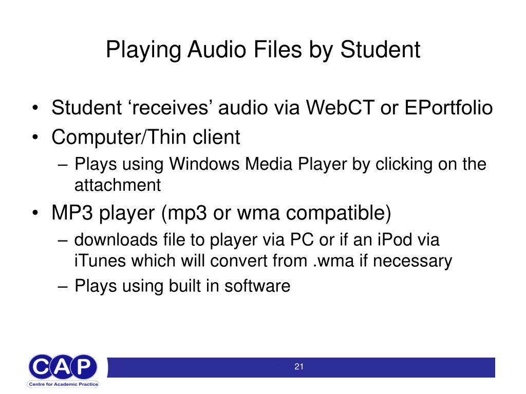 Playing Audio Files by Student